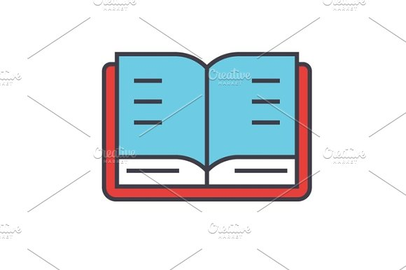 Open Book Study Library Concept Line Vector Icon Editable Stroke Flat Linear Illustration Isolated On White Background