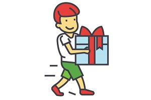 Cute boy holding big gift box concept. Line vector icon. Editable stroke. Flat linear illustration isolated on white background
