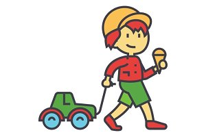 Kid carries a toy car for the rope with ice cream concept. Line vector icon. Editable stroke. Flat linear illustration isolated on white background