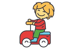 Kid driving big toy car and having fun outdoors concept. Line vector icon. Editable stroke. Flat linear illustration isolated on white background