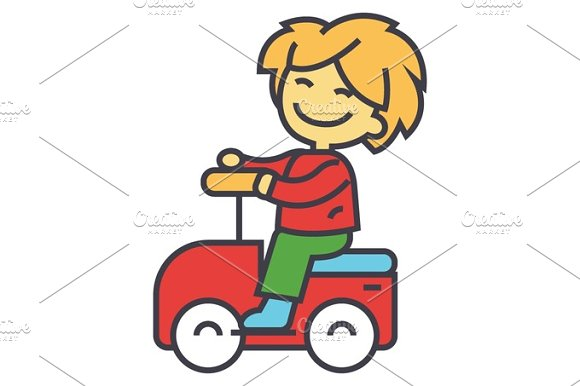 Kid Driving Big Toy Car And Having Fun Outdoors Concept Line Vector Icon Editable Stroke Flat Linear Illustration Isolated On White Background