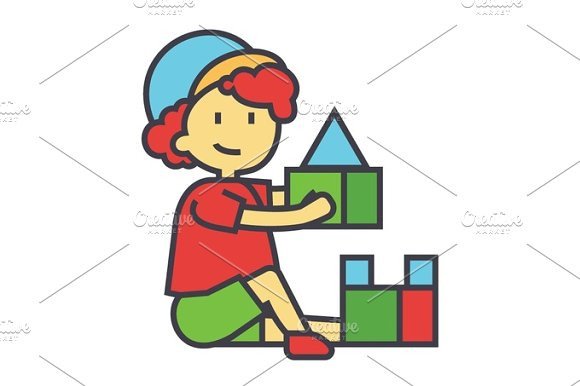 Boy Playing With Colorful Toys Bricks Concept Line Vector Icon Editable Stroke Flat Linear Illustration Isolated On White Background