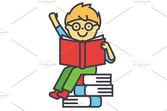 Smiling Kid Sitting On Pile Of Books Reading Opened Textbook Concept Line Vector Icon Editable Stroke Flat Linear Illustration Isolated On White Background