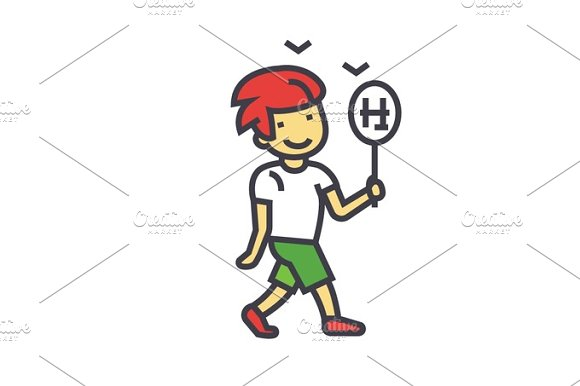 Cute Boy Walking With Toy Car And Candy Concept Line Vector Icon Editable Stroke Flat Linear Illustration Isolated On White Background