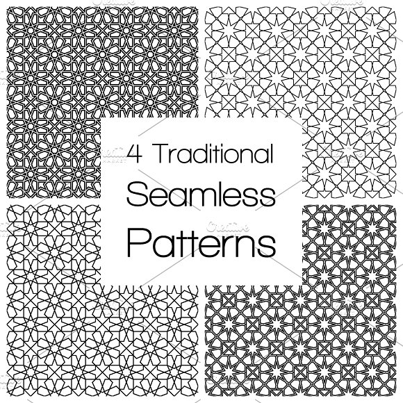 Set of traditional seamless patterns