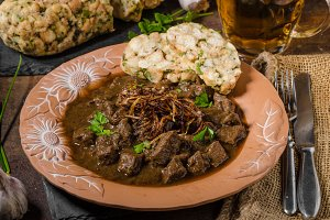 Beef goulash with dumplings