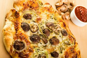 Artisan mushroom pizza