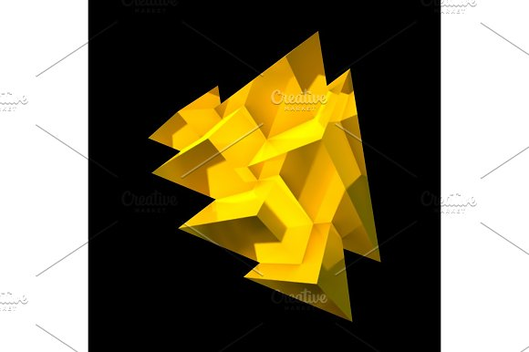Abstract Golden Crystal With Overlapping Pyramids
