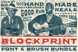 Blockprint Font & Brush Pack