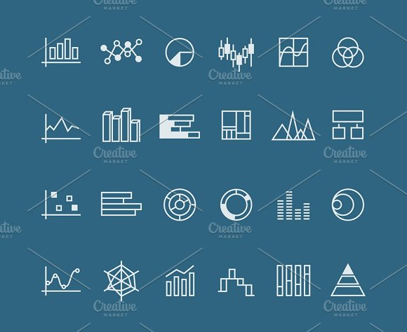 Set Of Linear Charts For Business