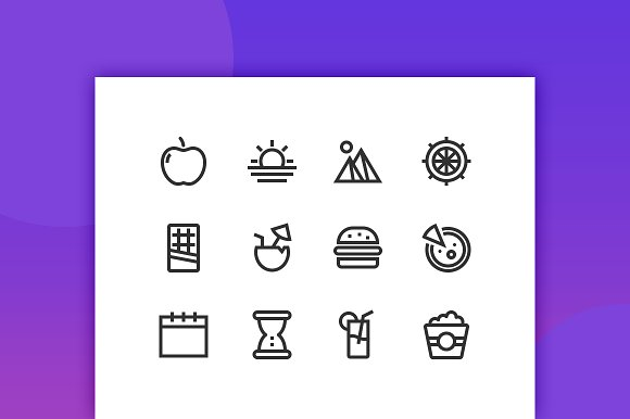 Food Travel Line Icons