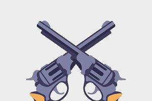 Guns flat vector illustration