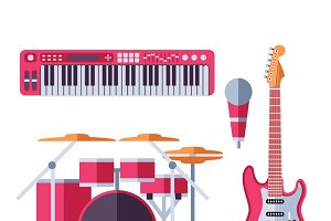 Vector musical instruments icons