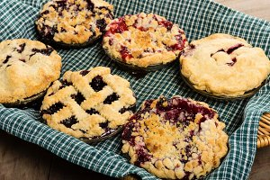 Homemade fruit pies ready