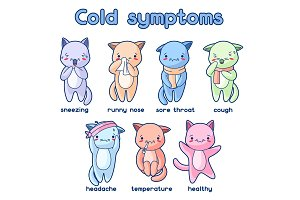 Cold symptoms. Sick cute kittens. Illustration of kawaii cats