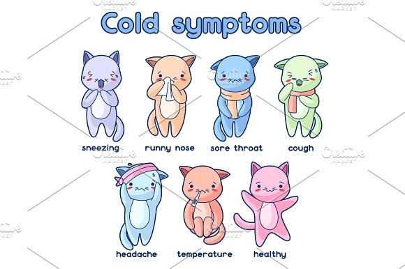 Cold Symptoms Sick Cute Kittens Illustration Of Kawaii Cats