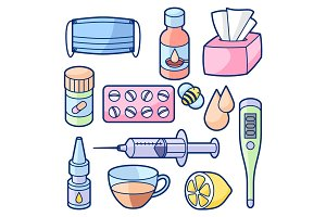 Medicines and medical objects set. Treatment of cold and flu