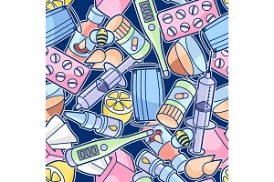 Seamless pattern with medicines and medical objects. Treatment of cold and flu