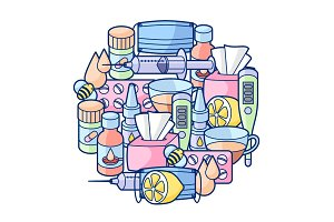 Background with medicines and medical objects. Treatment of cold and flu