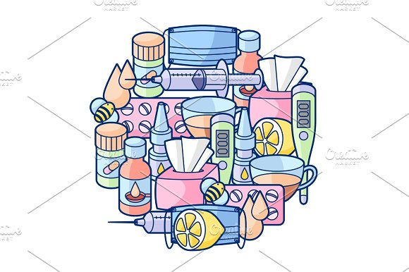Background With Medicines And Medical Objects Treatment Of Cold And Flu