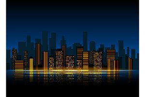 Night city silhouette background