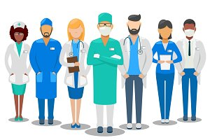Hospital staff doctors and nurse