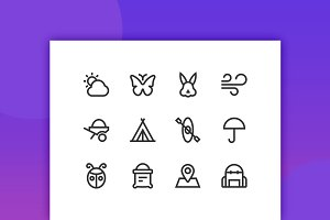 Nature & Outdoor Line Icons