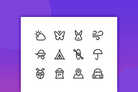 Nature Outdoor Line Icons