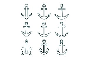 Set of Nine Anchors Silhouette