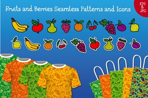 Fruits and Berries Patterns and Icon