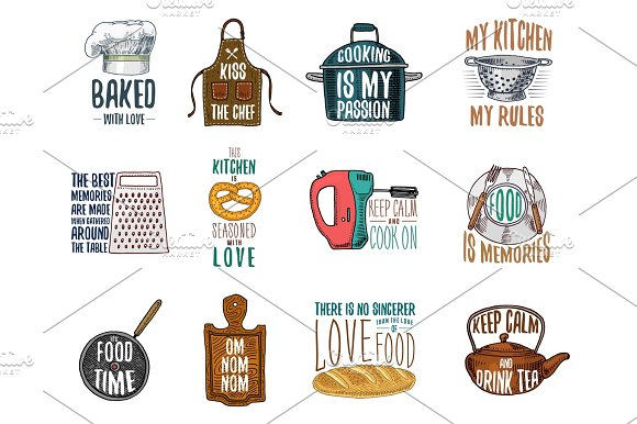 Apron And Saucepan Bagel And Wooden Board With Hood Baking Or Dirty Kitchen Utensils Cooking Stuff Logo Emblem Or Label Engraved Hand Drawn In Old Sketch And Vintage Style