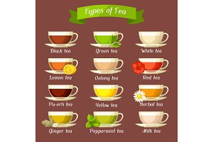 Types of tea. Set of glass cups with different tastes and ingredients
