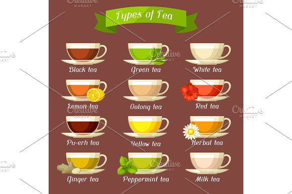 Types Of Tea Set Of Glass Cups With Different Tastes And Ingredients