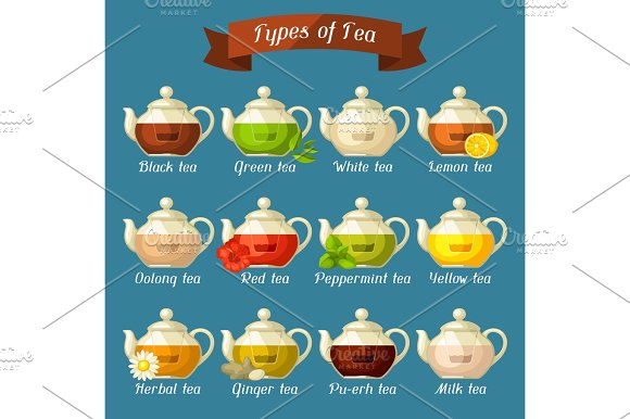 Types Of Tea Set Of Glass Kettles With Different Tastes And Ingredients