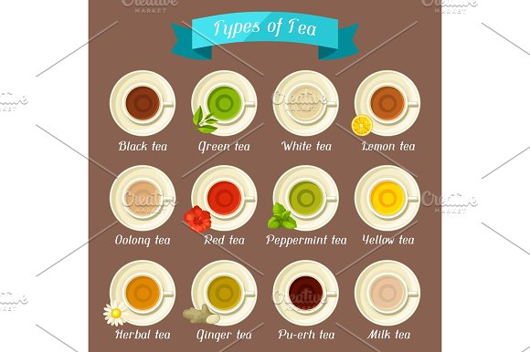 Types Of Tea Set Of Ceramic Cups With Different Tastes And Ingredients