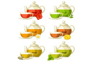 Types of tea. Set of glass cups and kettles with different tastes and ingredients