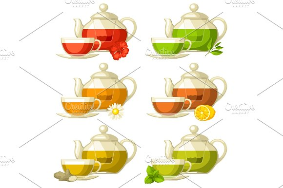 Types Of Tea Set Of Glass Cups And Kettles With Different Tastes And Ingredients
