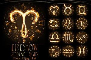 Zodiacs in fireshow style