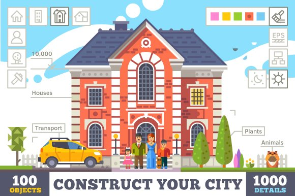 Construct your city, flat vector ...