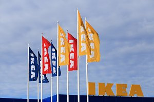 Colorful flags with Ikea logo