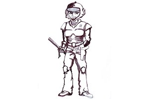 Space samurai. sketch