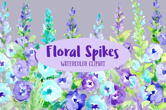 Watercolor Floral Spikes Purple