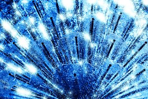 Diagonal blue fresh water city fountain with sparkles