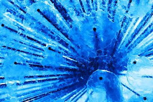 Diagonal blue fresh water city fountain painting