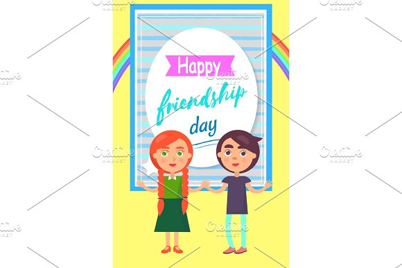 Happy Friends Day Poster with Childen Girl and Boy