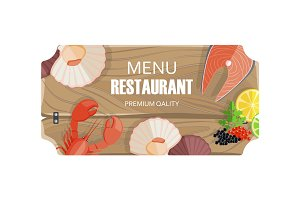 Restaurant Menu with Seafood of Premium Quality