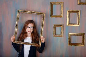 Teen girl with glasses