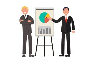 Businessmen Make Presentation and Explain Diagram