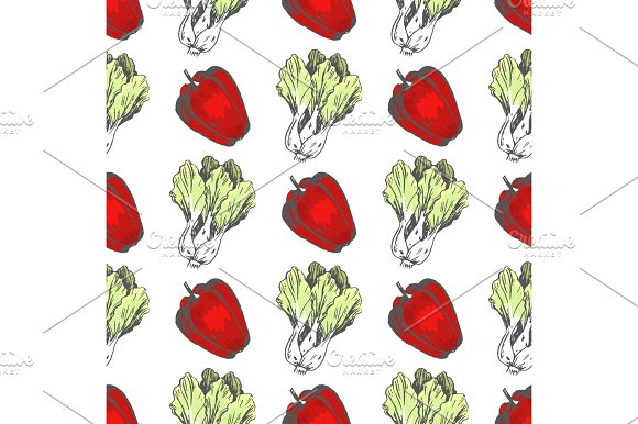 Sweet Pepper And Chinese Cabbage Seamless Pattern