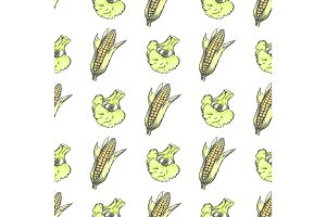 Corn Cobs and Broccoli on White Wrapping Paper